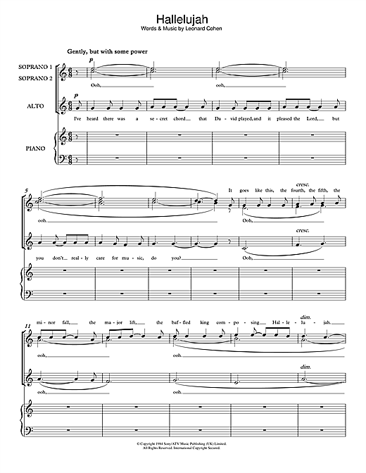 Leonard Cohen Hallelujah Sheet Music Notes Chords Printable Pop