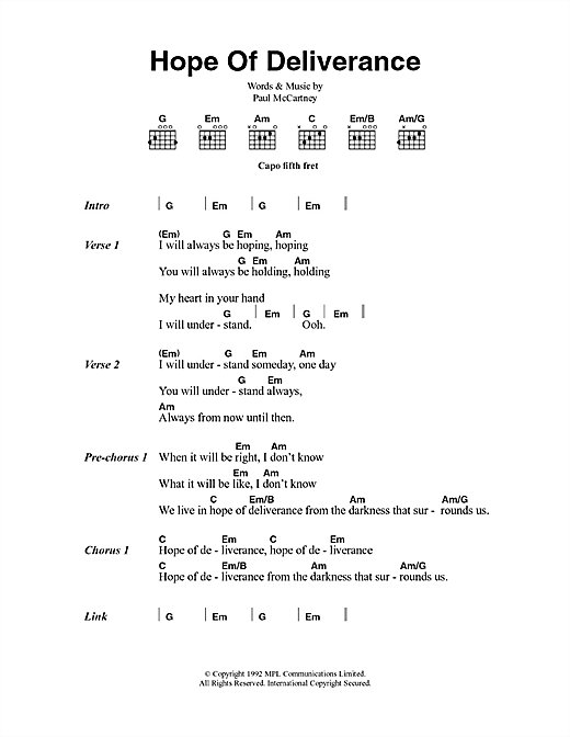 "Paul mccartney ""hope of deliverance"" sheet music in c major."