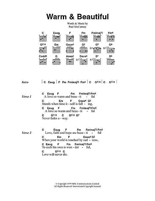 Paul Mccartney Wings Warm Beautiful Sheet Music Notes Chords