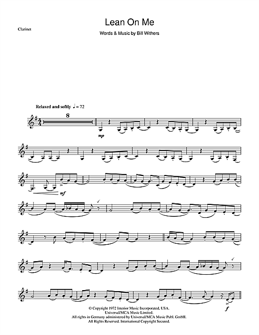 Bill Withers Lean On Me Sheet Music Notes Chords Printable Soul
