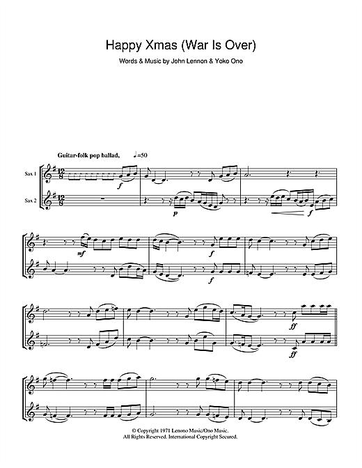 John Lennon Happy Xmas War Is Over Sheet Music Notes Chords