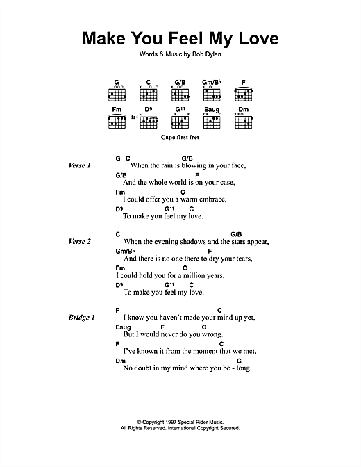 Bob Dylan Make You Feel My Love Sheet Music Notes Chords