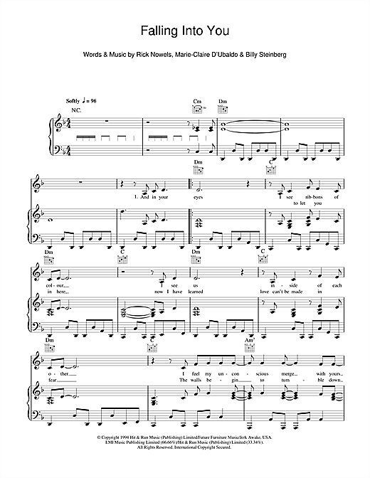 Celine Dion Falling Into You Sheet Music Notes Chords Printable