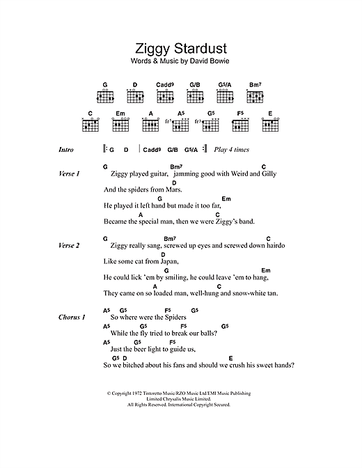 David Bowie Ziggy Stardust Sheet Music Notes Chords Printable