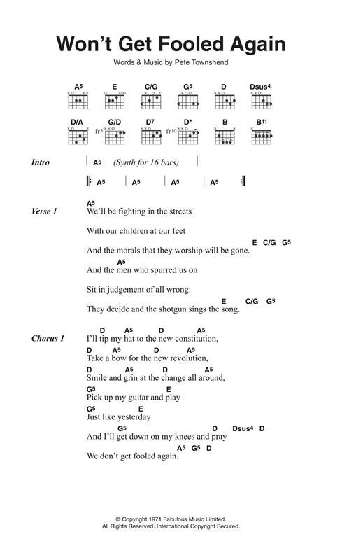 The Who Wont Get Fooled Again Sheet Music Notes Chords