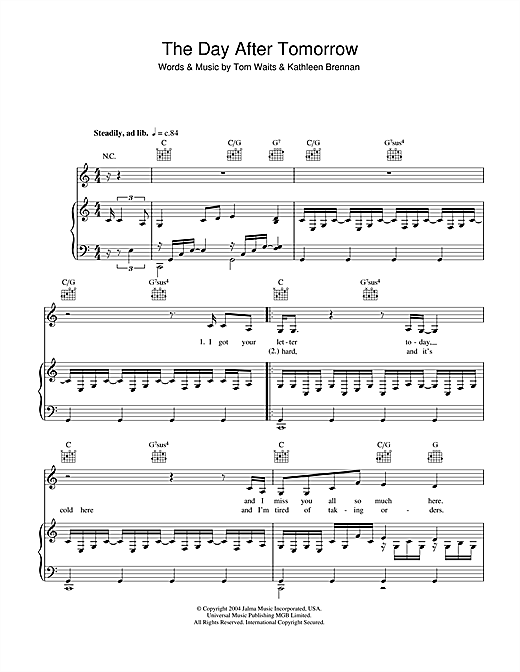 Tom Waits Day After Tomorrow Sheet Music Notes Chords Printable