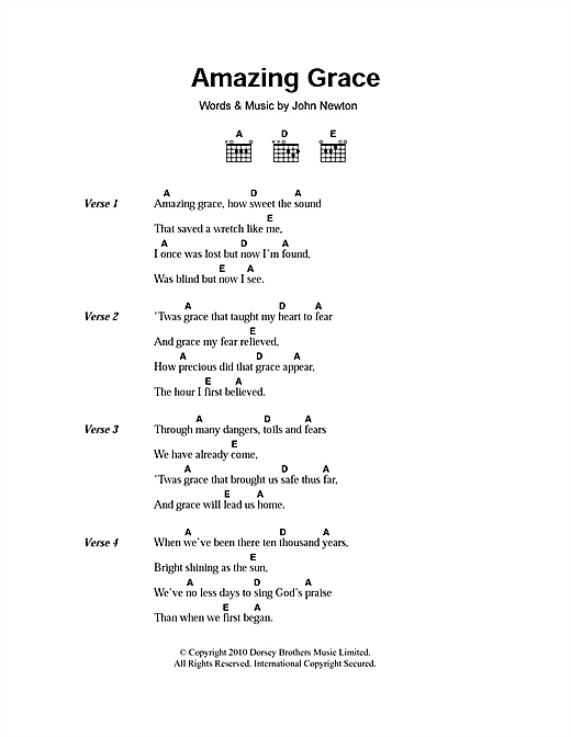 Traditional Amazing Grace Sheet Music Notes Chords Printable