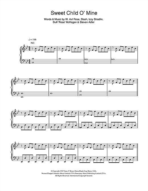 Taken By Trees Sweet Child O Mine Sheet Music Notes Chords