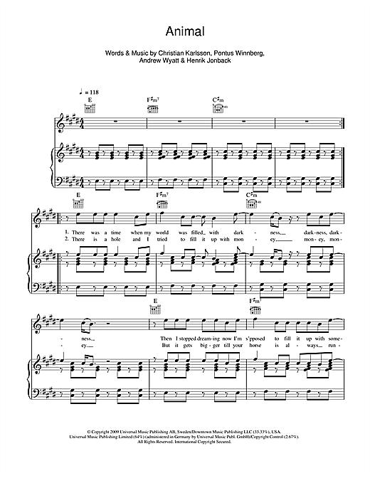 Miike Snow Animal Sheet Music Notes Chords Printable Pop Piano
