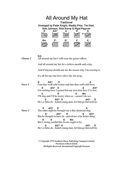 Steeleye Span All Around My Hat Sheet Music Notes Chords Download Printable Lyrics Chords Sku 100766