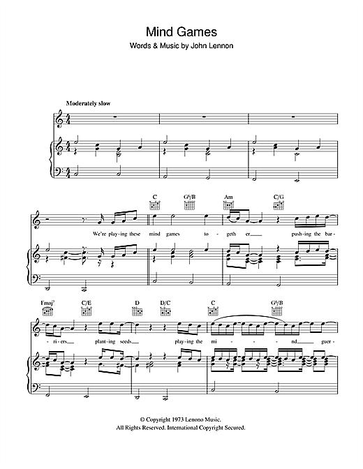 John Lennon Mind Games Sheet Music Notes Chords Printable Rock