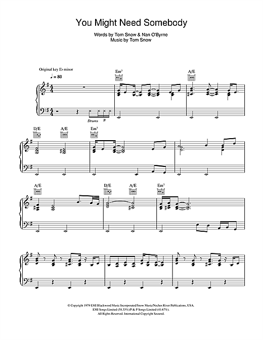 Randy Crawford You Might Need Somebody Sheet Music Notes Chords