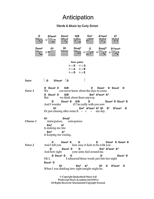 Carly Simon Anticipation Sheet Music Notes Chords Printable Pop