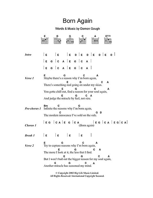Badly Drawn Boy Born Again Sheet Music Notes Chords Printable