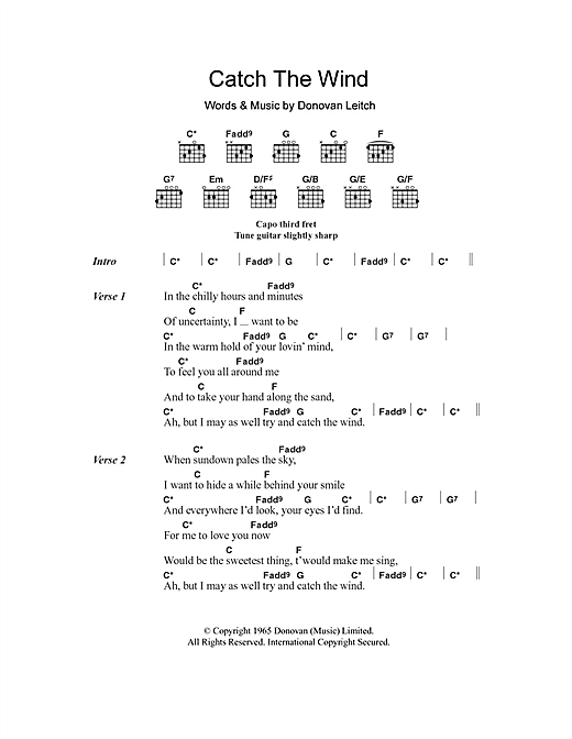 Donovan Catch The Wind Sheet Music Notes Chords Printable Pop