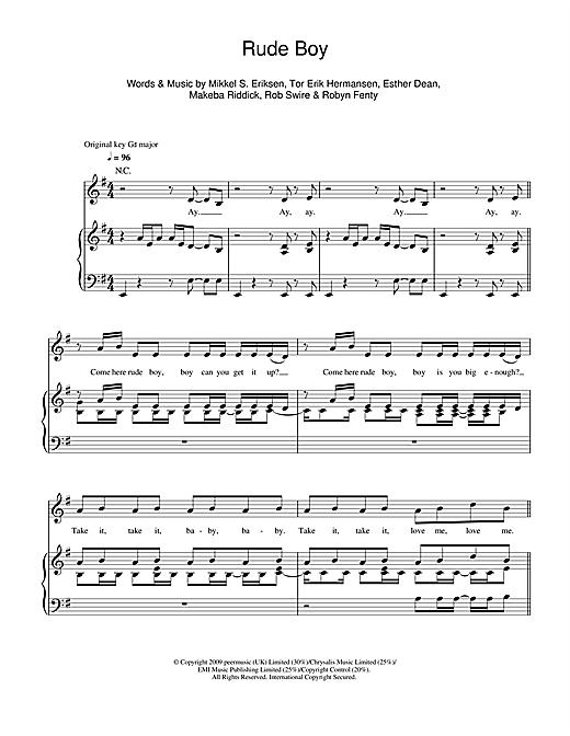 Rihanna Rude Boy Sheet Music Notes Chords Printable R B Piano