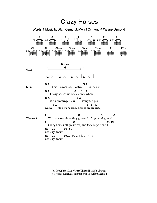 The Osmonds Crazy Horses Sheet Music Notes Chords Printable Pop