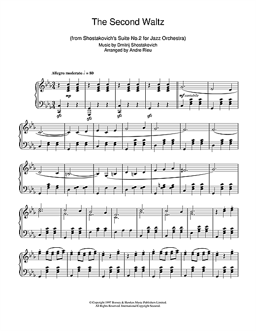 Andre Rieu The Second Waltz Sheet Music Notes Chords Printable