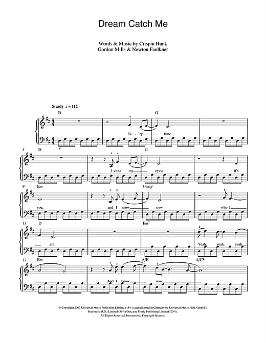 Newton Faulkner Dream Catch Me Sheet Music Notes Chords