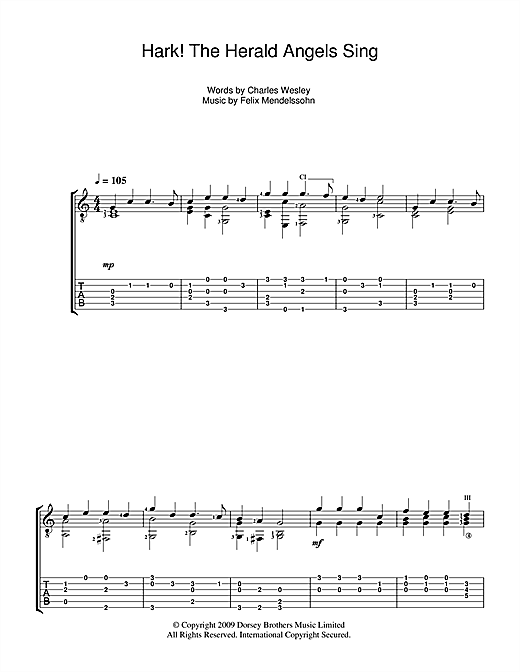 Christmas Carol Hark The Herald Angels Sing Sheet Music Notes