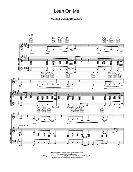 Glee Cast Lean On Me Sheet Music Notes Chords Printable Soul
