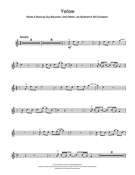 Coldplay Yellow Sheet Music Notes Chords Printable Rock Violin