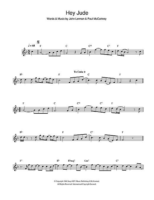 The Beatles Hey Jude Sheet Music Notes Chords Printable Rock