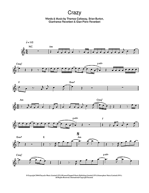 Gnarls Barkley Crazy Sheet Music Notes Chords Printable Pop