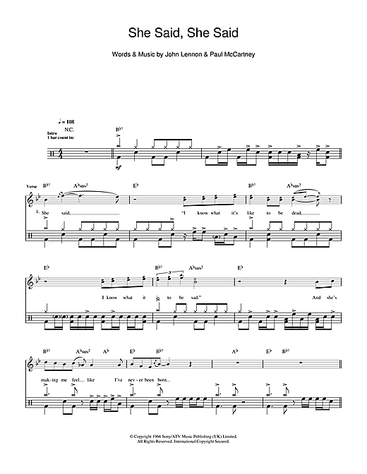 The Beatles She Said She Said Sheet Music Notes Chords