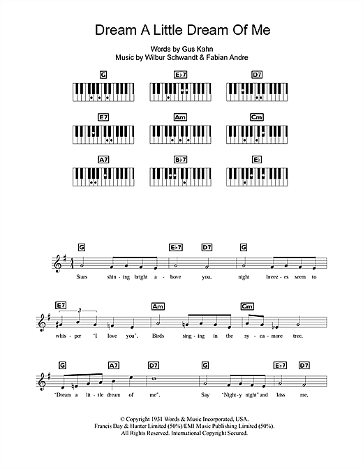 The Mamas The Papas Dream A Little Dream Of Me Sheet Music Notes