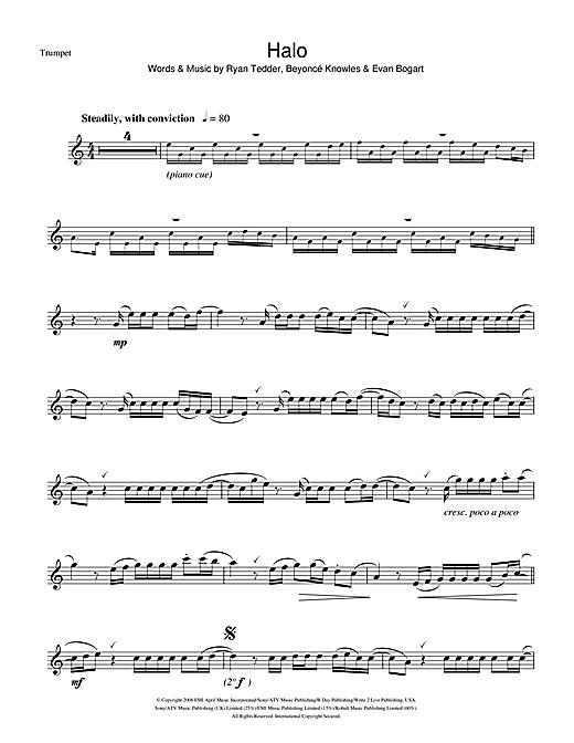 Beyonc Halo Sheet Music Notes Chords Printable R B Trumpet