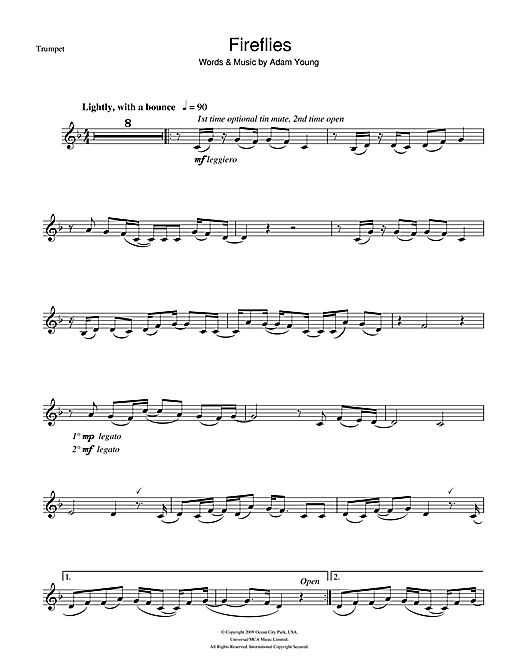 Owl City Fireflies Sheet Music Notes Chords Printable Pop