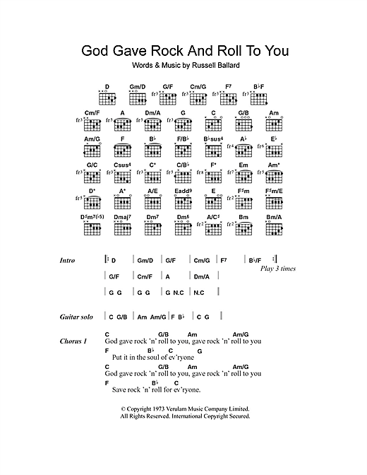 Argent God Gave Rock And Roll To You Sheet Music Notes Chords