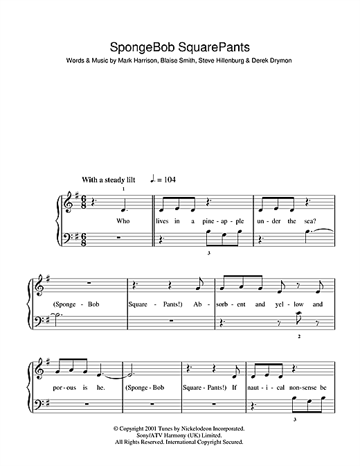Mark Harrison Spongebob Squarepants Theme Song Sheet Music Notes