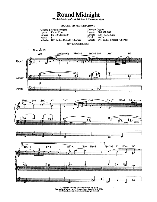 Thelonious Monk Round Midnight Sheet Music Notes Chords