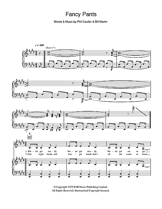 Kenny Fancy Pants Sheet Music Notes Chords Printable Rock Piano