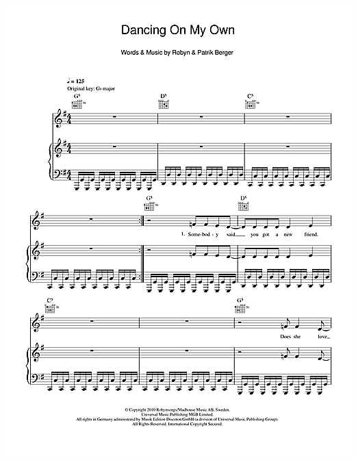 Robyn Dancing On My Own Sheet Music Notes Chords Printable Pop