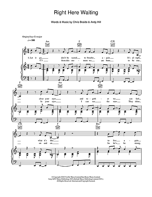 Boyzone Right Here Waiting Sheet Music Notes Chords Printable