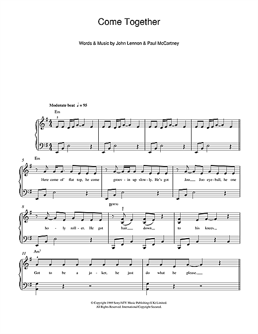 Michael Jackson Come Together Sheet Music Notes Chords