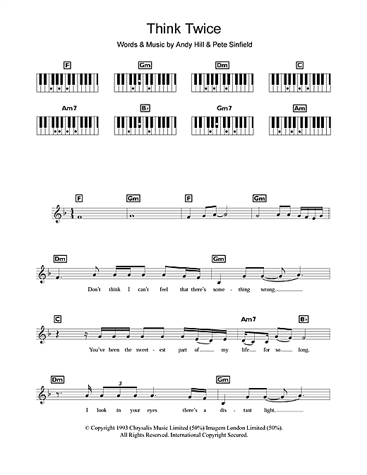 Celine Dion Think Twice Sheet Music Notes Chords Printable Pop