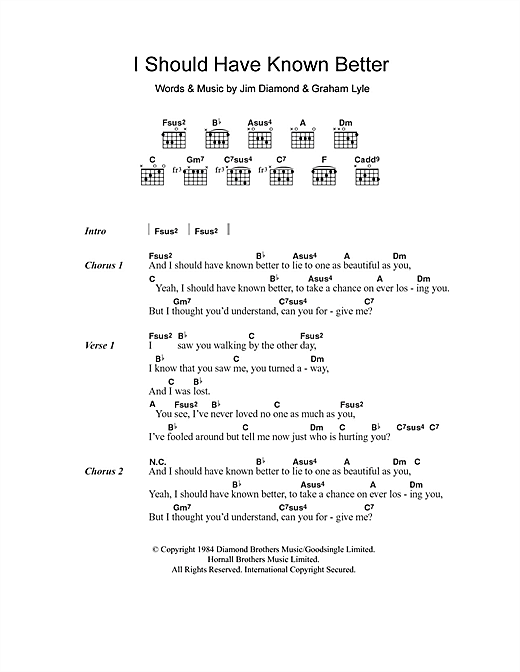 Jim Diamond I Should Have Known Better Sheet Music Notes Chords