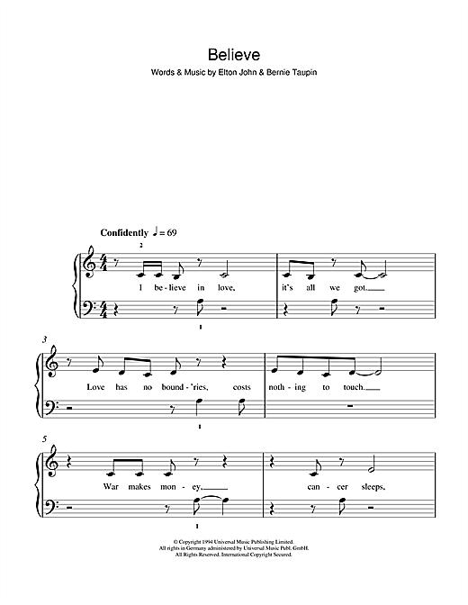 Elton John Believe Sheet Music Notes Chords Printable Pop 5