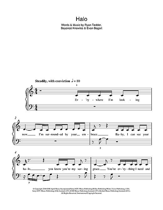 Beyonc Halo Sheet Music Notes Chords Printable Pop 5 Finger