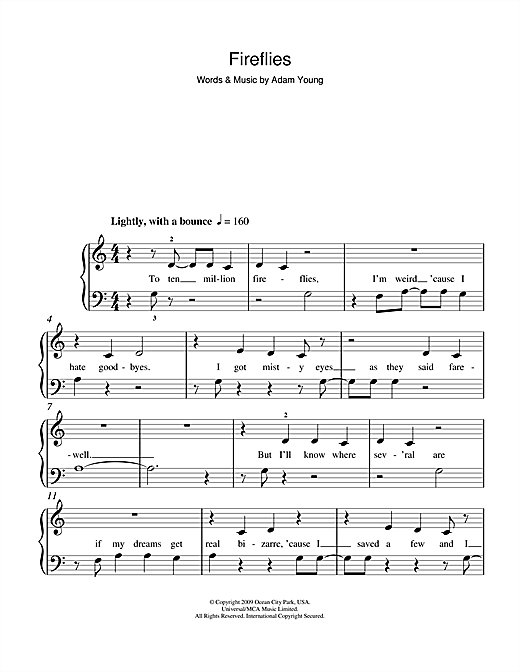 Owl City Fireflies Sheet Music Notes Chords Printable Pop 5