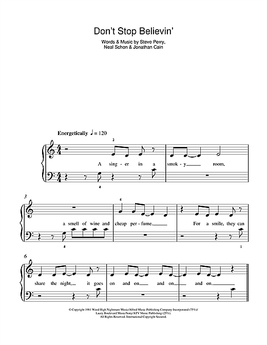 Journey Dont Stop Believin Sheet Music Notes Chords Printable