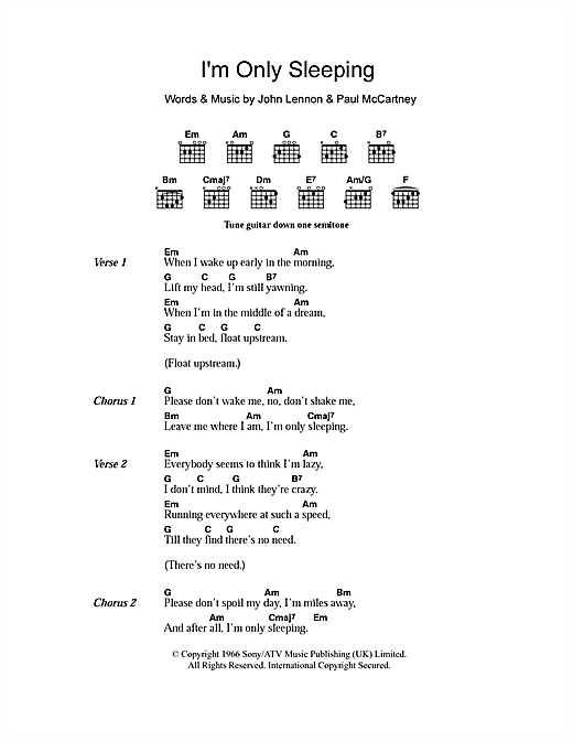 The Beatles Im Only Sleeping Sheet Music Notes Chords