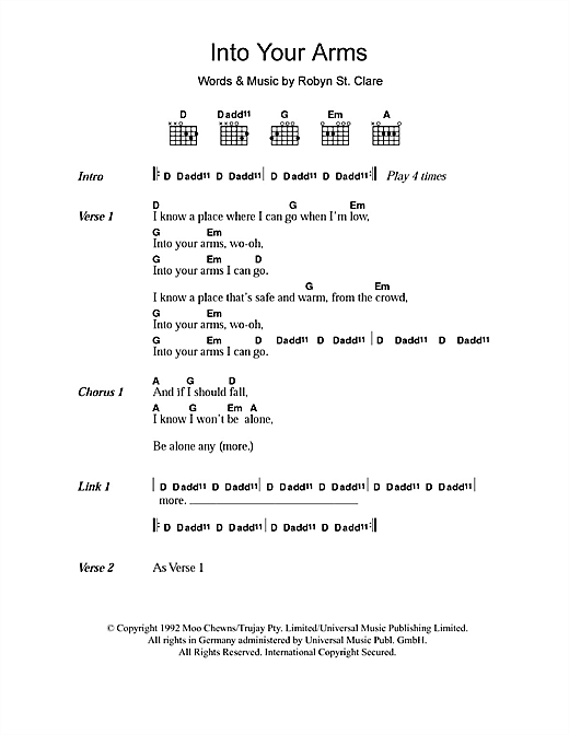 The Lemonheads Into Your Arms Sheet Music Notes Chords