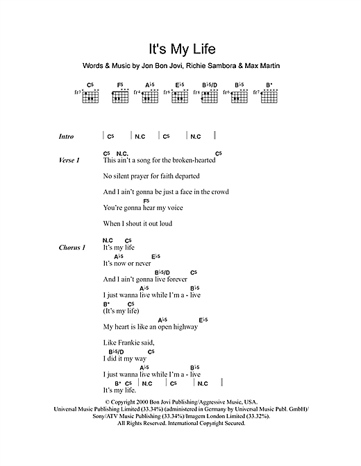 Bon Jovi Its My Life Sheet Music Notes Chords Printable Rock