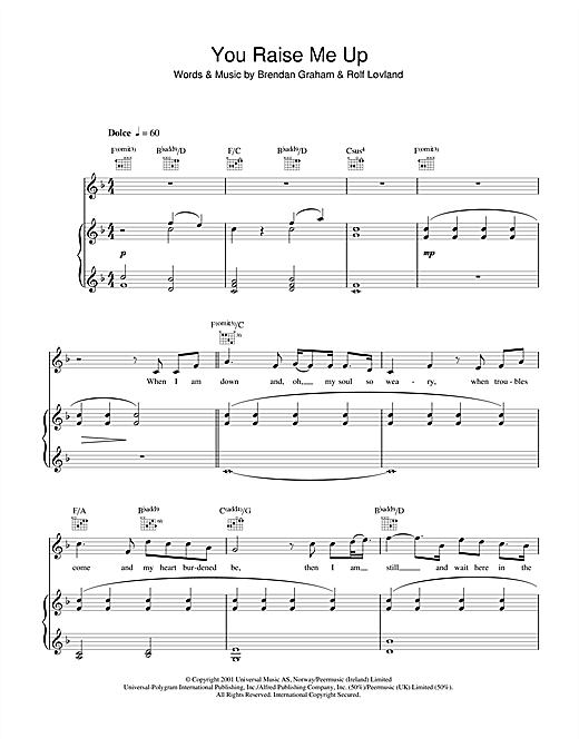 Aled Jones You Raise Me Up Sheet Music Notes Chords Printable
