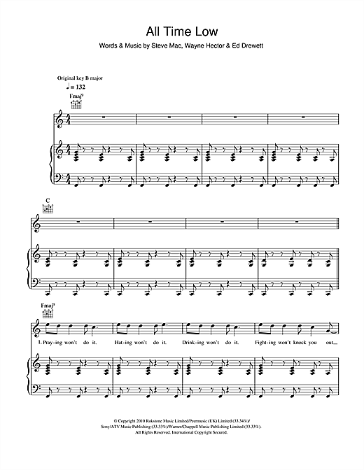 The Wanted All Time Low Sheet Music Notes Chords Printable Pop